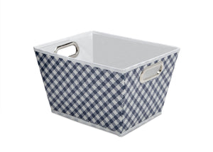 Gingham Navy (404) Deluxe Water-Resistant Rectangle Tapered Tote c2c