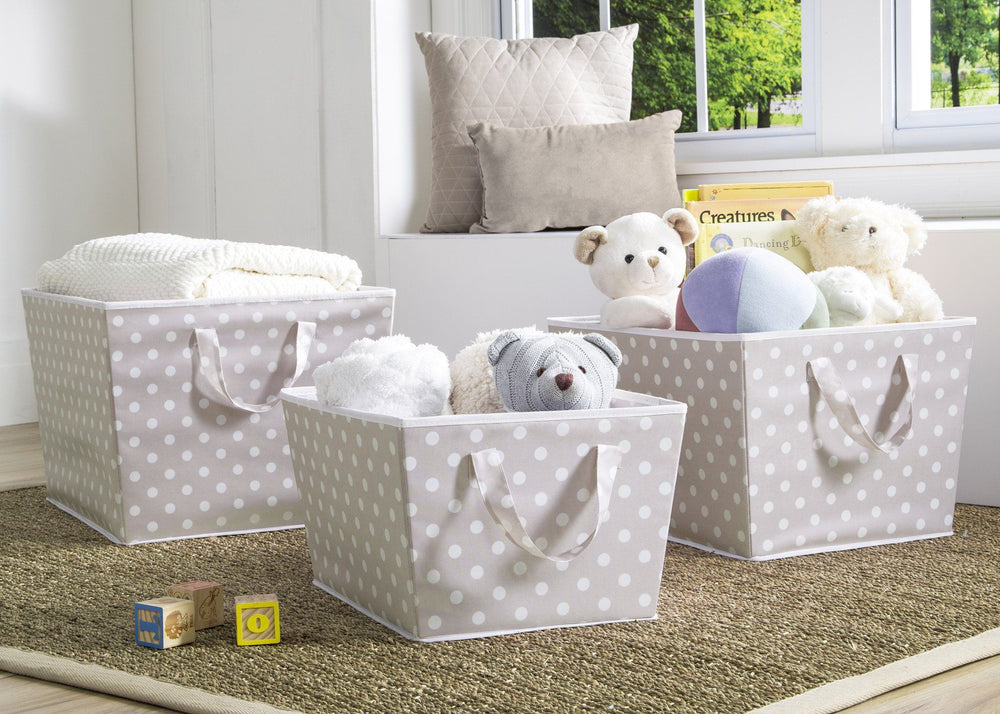 Delta Children Taupe Dot (055) Set of Three Tapered Totes in Setting a1a