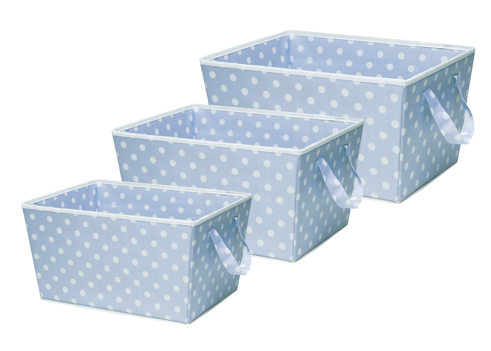 Delta Children Set of Three Tapered Totes Blue Dot (475) (SS4462), Set of Three, b2b