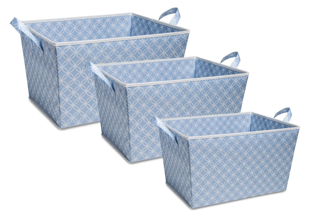Delta Children Blue Geo (477) Set of Three Tapered Totes, Set View c2c