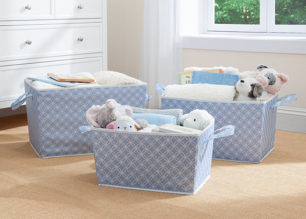 Delta Children Blue Geo (477) Set of Three Tapered Totes in Setting c1c