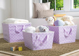 Delta Children Lavender Dot (533) Set of Three Tapered Totes in Setting d1d