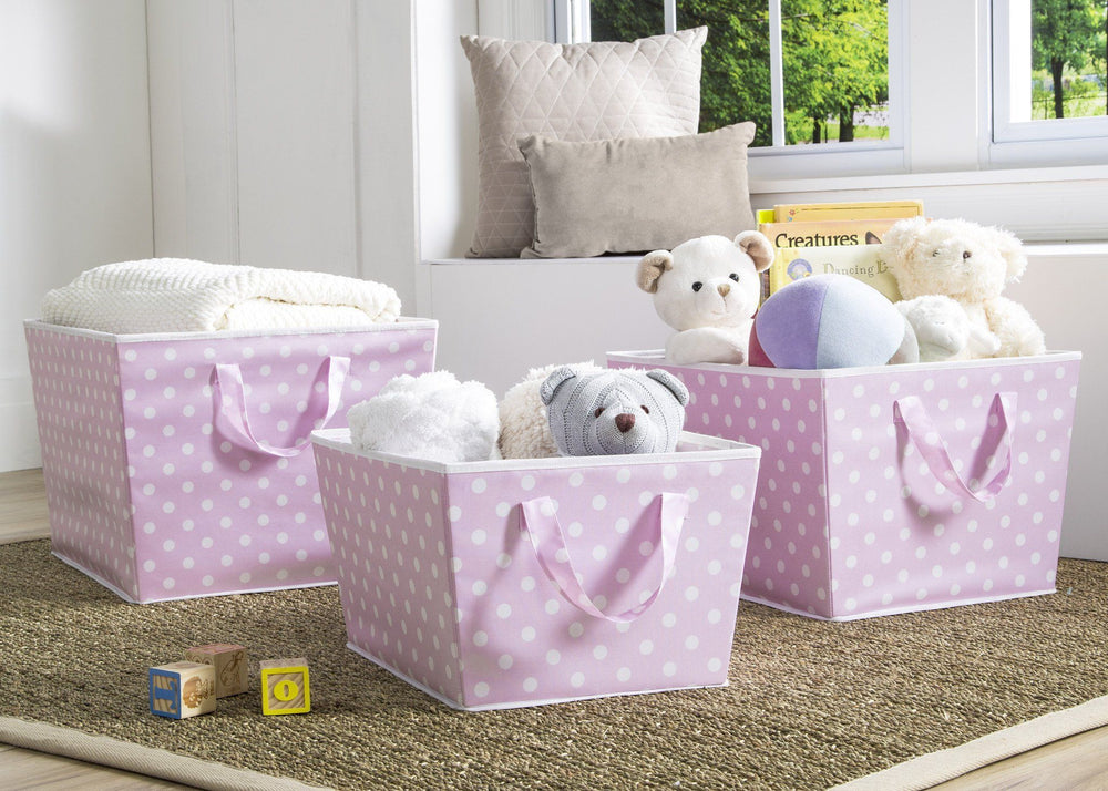 Delta Children Pink Dot (693) Set of Three Tapered Totes in Setting e1e