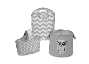 Delta Children's Grey (081) 3 Piece Character Storage Set, Front View a1a
