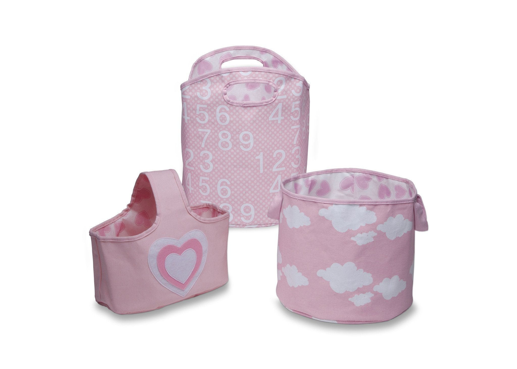 Delta Children's Pink (677) 3 Piece Character Storage Set, Front View c1c
