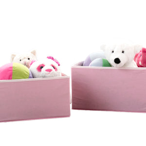 2 Piece Foldable Storage Bin Basket Box (Light Pink with White)