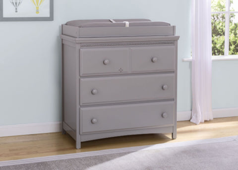 Emerson 3 Drawer Dresser with Changing Top (Grey) - Bundle