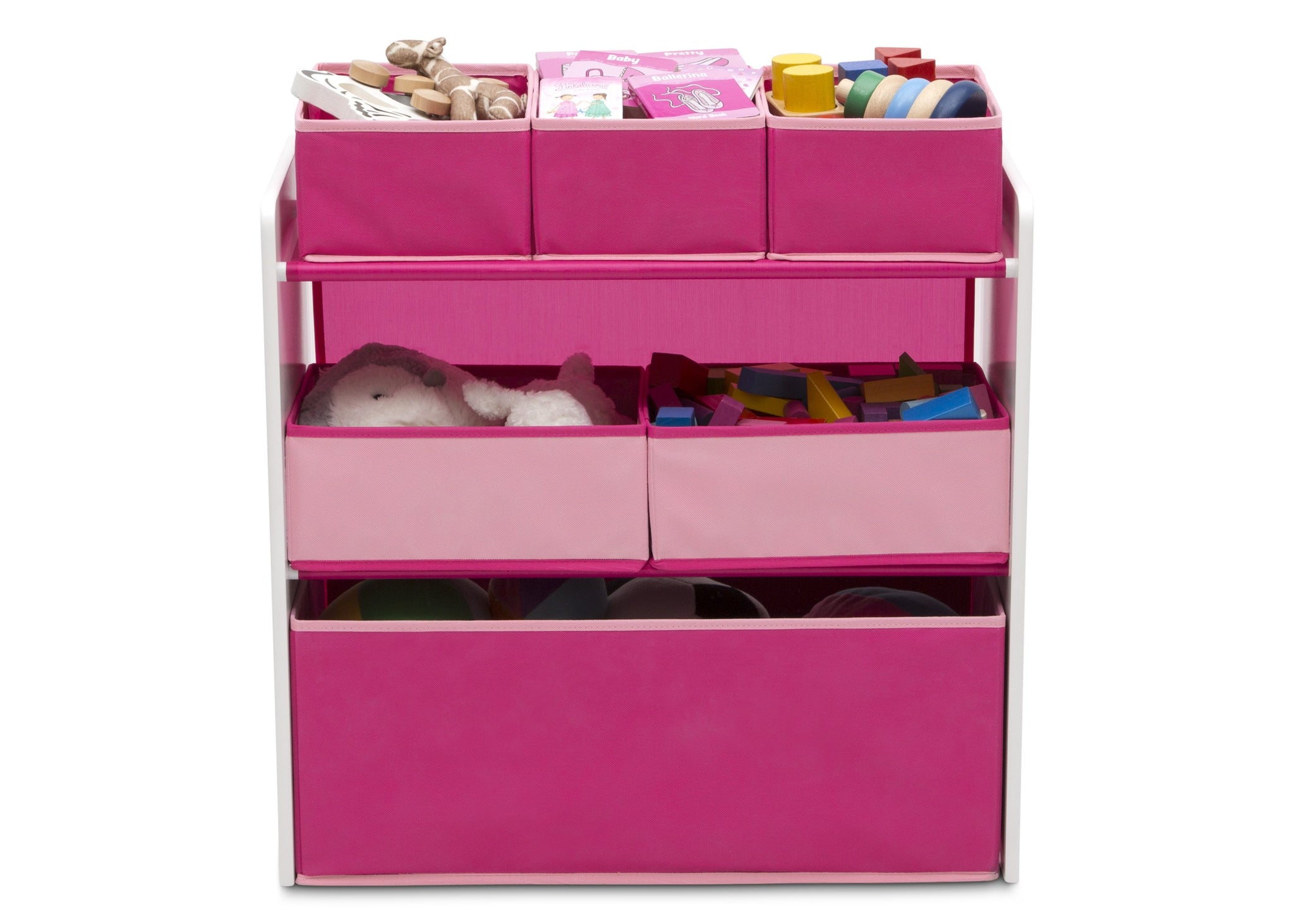 Delta Children Bianca White with Pink (130) Design and Store 6 Bin Toy Organizer, Front Silo View