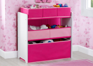 Delta Children Bianca White with Pink (130) Design and Store 6 Bin Toy Organizer, Hangtag View