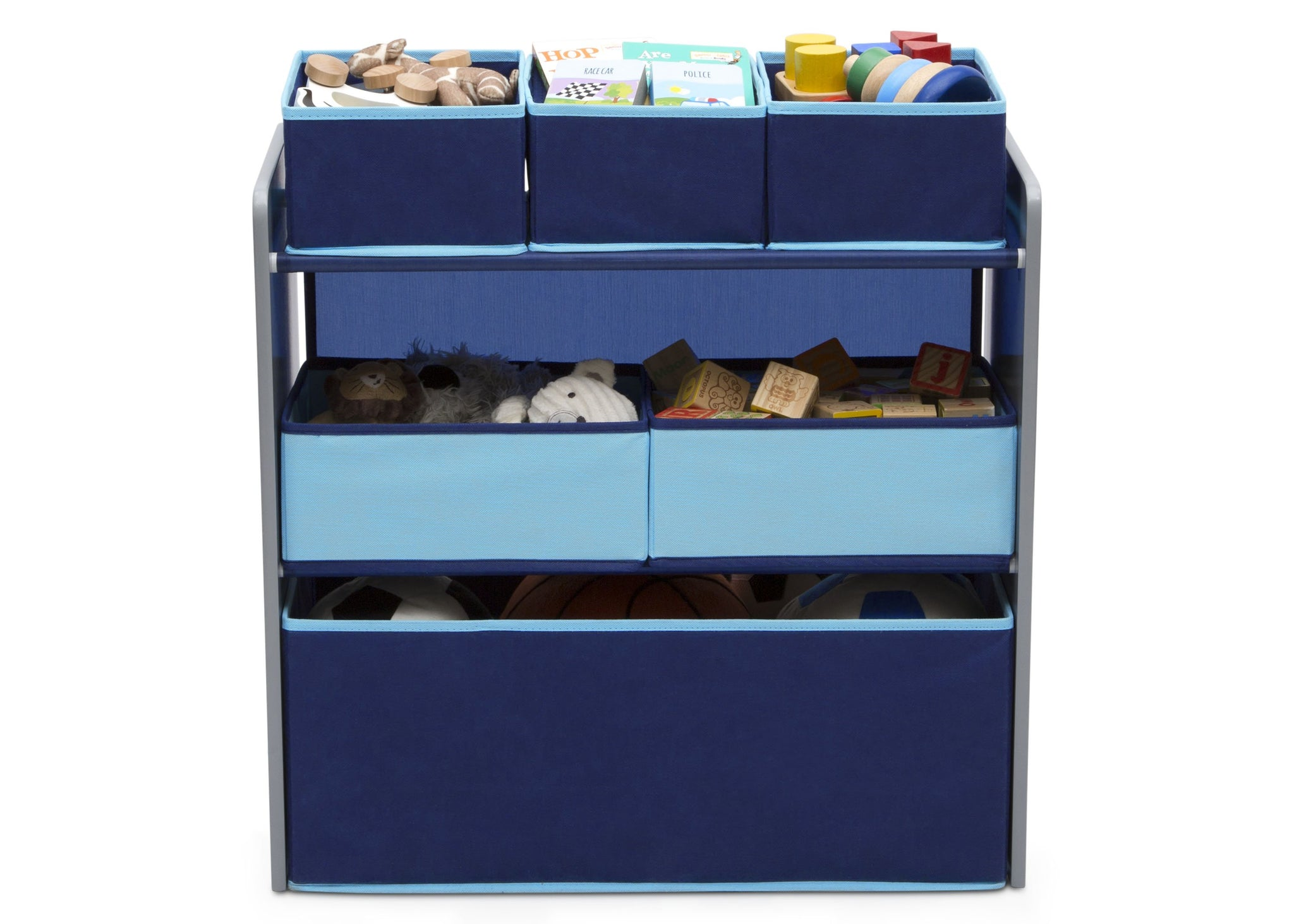 Delta Children Grey with Blue (026) Design and Store 6 Bin Toy Organizer, Front Silo View