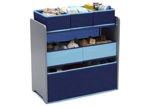 Delta Children Grey with Blue (026) Design and Store 6 Bin Toy Organizer, Right Silo View