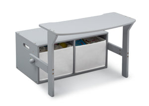 Delta Children Grey (026) MySize Activity Bench, Right Desk Silo View