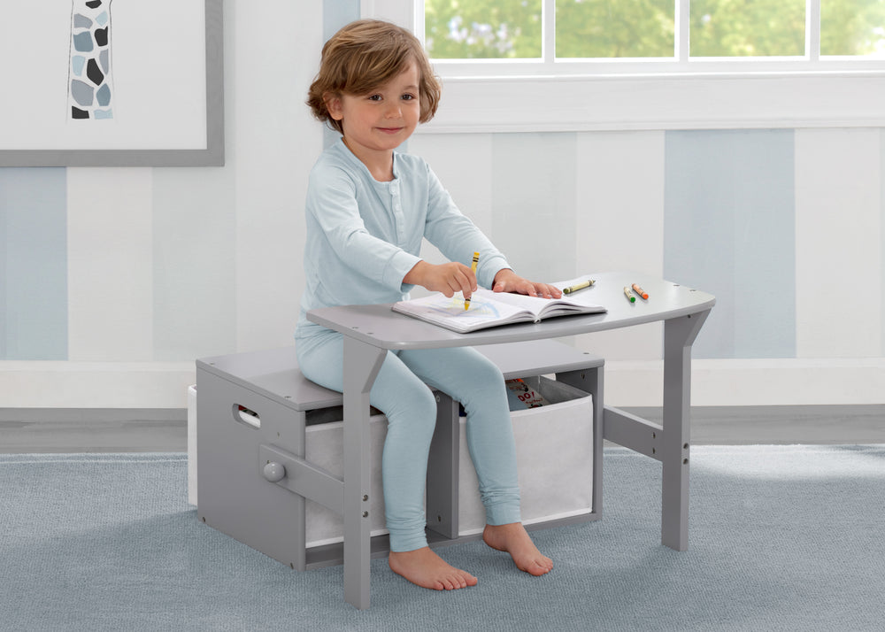 Delta Children Grey (026) MySize Activity Bench, Model View 1