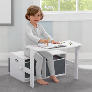 Delta Children Bianca White (130) MySize Activity Bench, Model View 1
