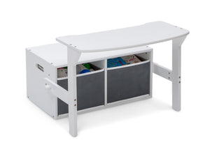 Delta Children Bianca White (130) MySize Activity Bench, Right Desk Silo View