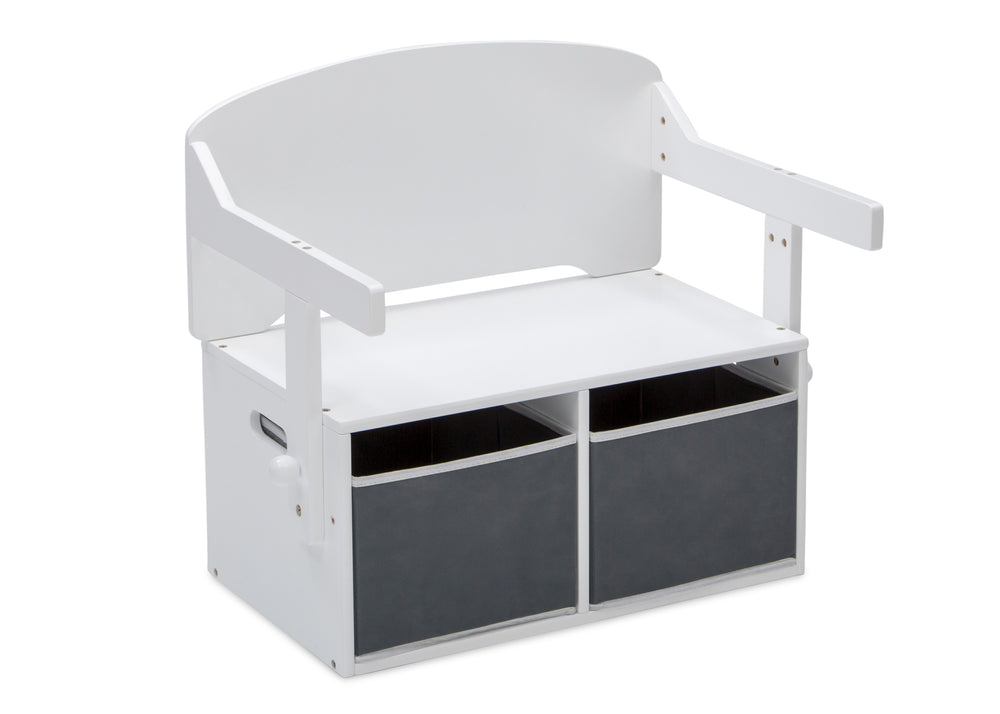 Delta Children Bianca White (130) MySize Activity Bench, Right Bench Silo View