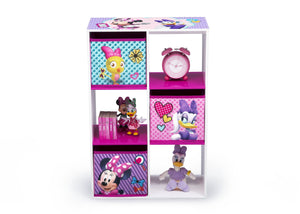 Delta Children Minnie Mouse (1064) 6 Cubby Storage Unit (TB83272MN), Front View with Props, a3a