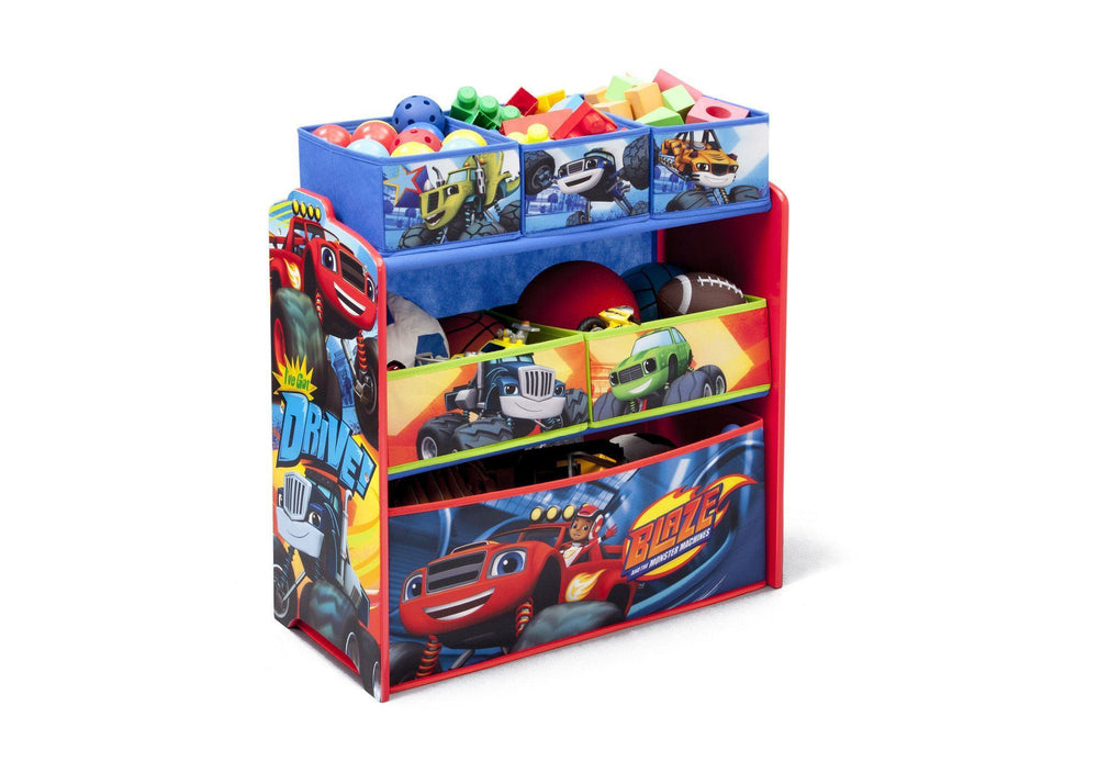 Delta Children Blaze and the Monster Machines Multi-Bin Toy Organizer, Right View with Props a1a