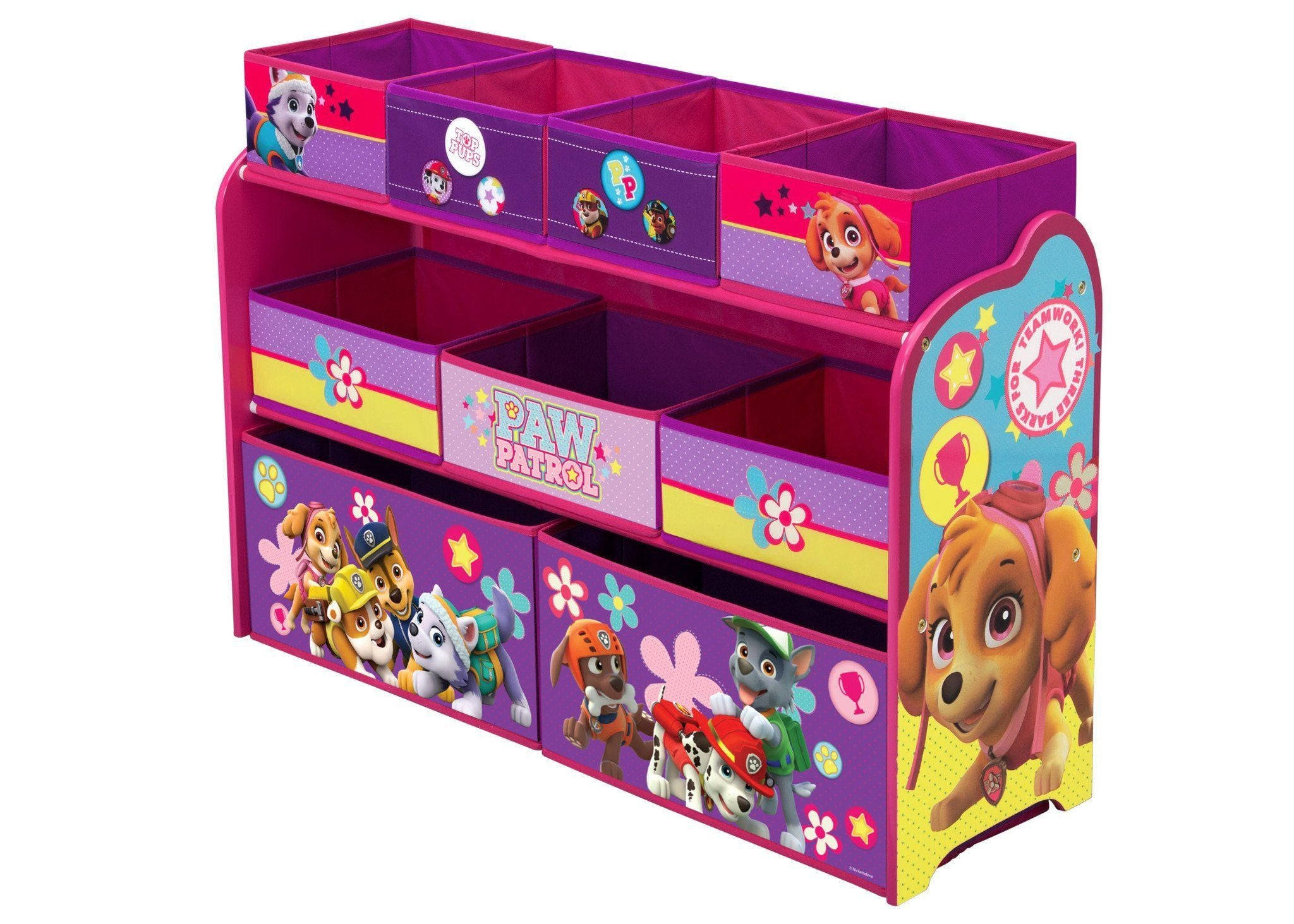 Paw Patrol Kids Toy Organizer Bin Children S Storage Box: PAW Patrol, Skye & Everest Deluxe Multi-Bin Toy Organizer