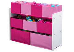 Delta Children Deluxe Multi-Bin Toy Organizer with Storage Bins, White/Pink Bins Left View with Props a3a