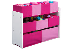 Delta Children Deluxe Multi-Bin Toy Organizer with Storage Bins, White/Pink Bins Right View with Props a2a