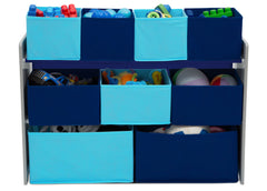 Delta Children Deluxe Multi-Bin Toy Organizer with Storage Bins, Grey/Blue Bins Front View with Props a4a