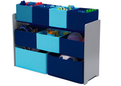 Delta Children Deluxe Multi-Bin Toy Organizer with Storage Bins, Grey/Blue Bins Left View with Props a3a