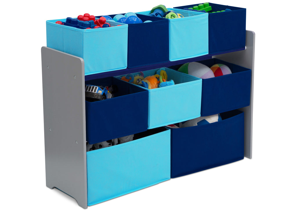 Delta Children Deluxe Multi-Bin Toy Organizer with Storage Bins, Grey/Blue Bins Right Side View a2a