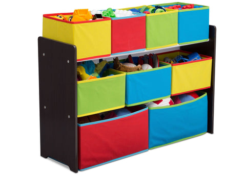 Deluxe Multi-Bin Toy Organizer with Storage Bins, Dark Chocolate/Primary Colored Bins