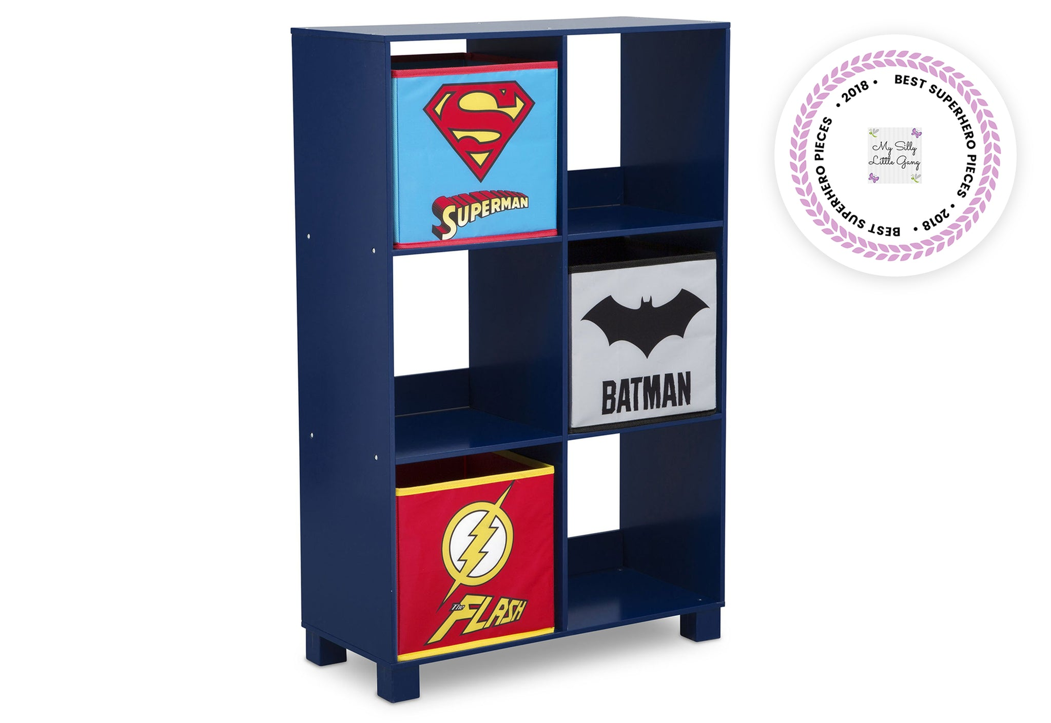 Delta Children Justice League (1215) 6 Cubby Deluxe Storage Unit (TB83424JL), Silo Side, a2a