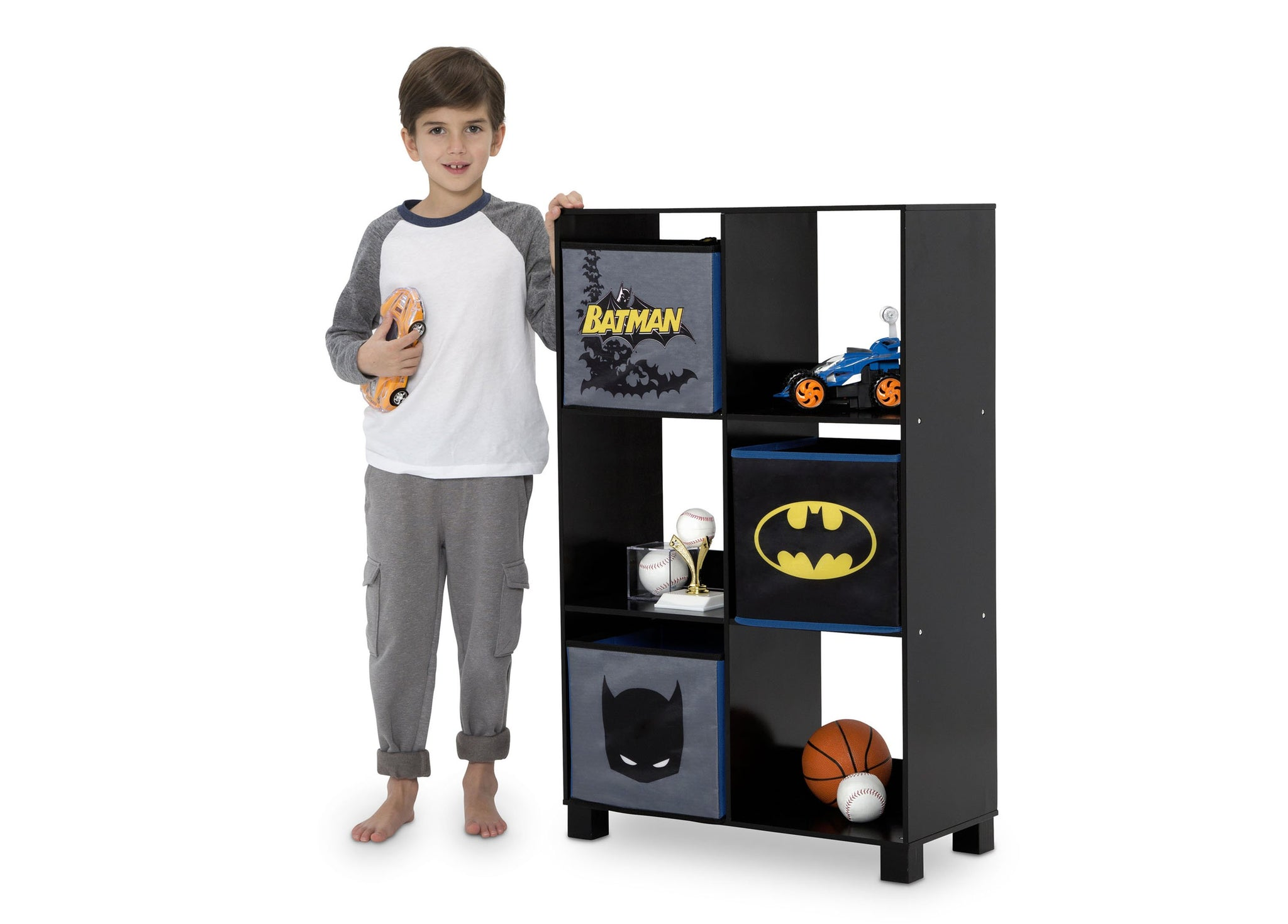 Delta Children Batman (1200) 6 Cubby Deluxe Storage Unit (TB83421BT), Silo with kid, a4a