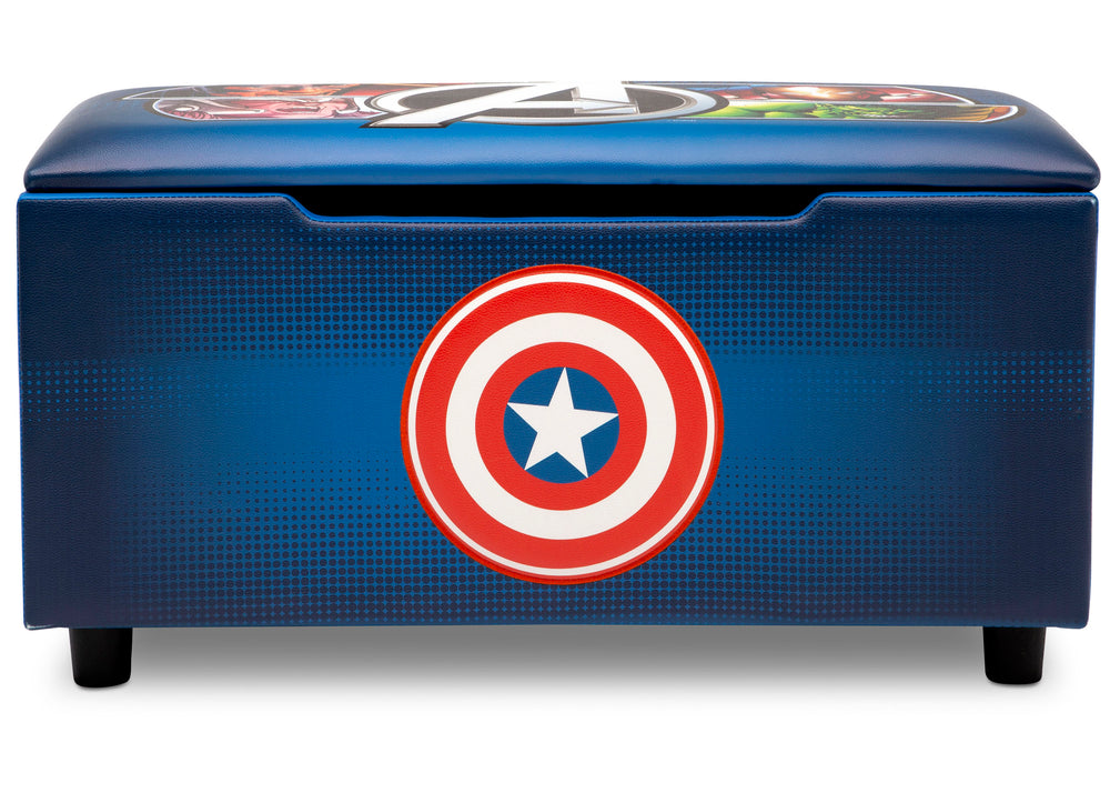 Delta Children Avengers Upholstered Storage Bench for Kids, Front Silo View