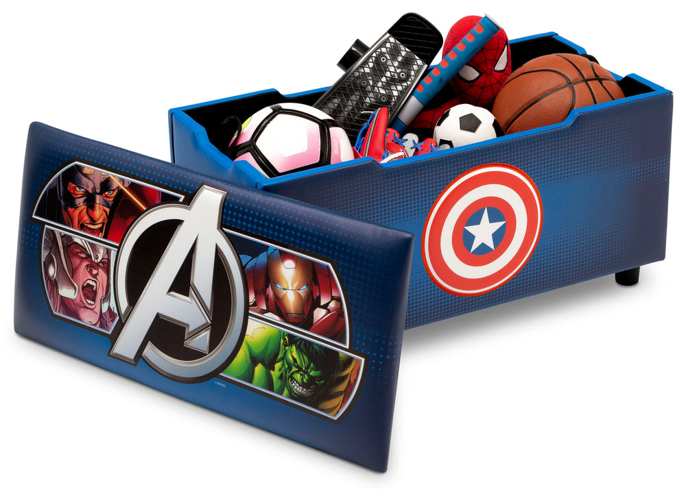 Delta Children Avengers Upholstered Storage Bench for Kids, Right Silo View with Lid Removed