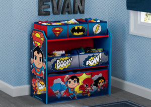 Delta Children Style 1 Super Friends (Batman | Robin | Superman | Wonder Woman | The Flash) Multi-Bin Toy Organizer Hangtag View a2a