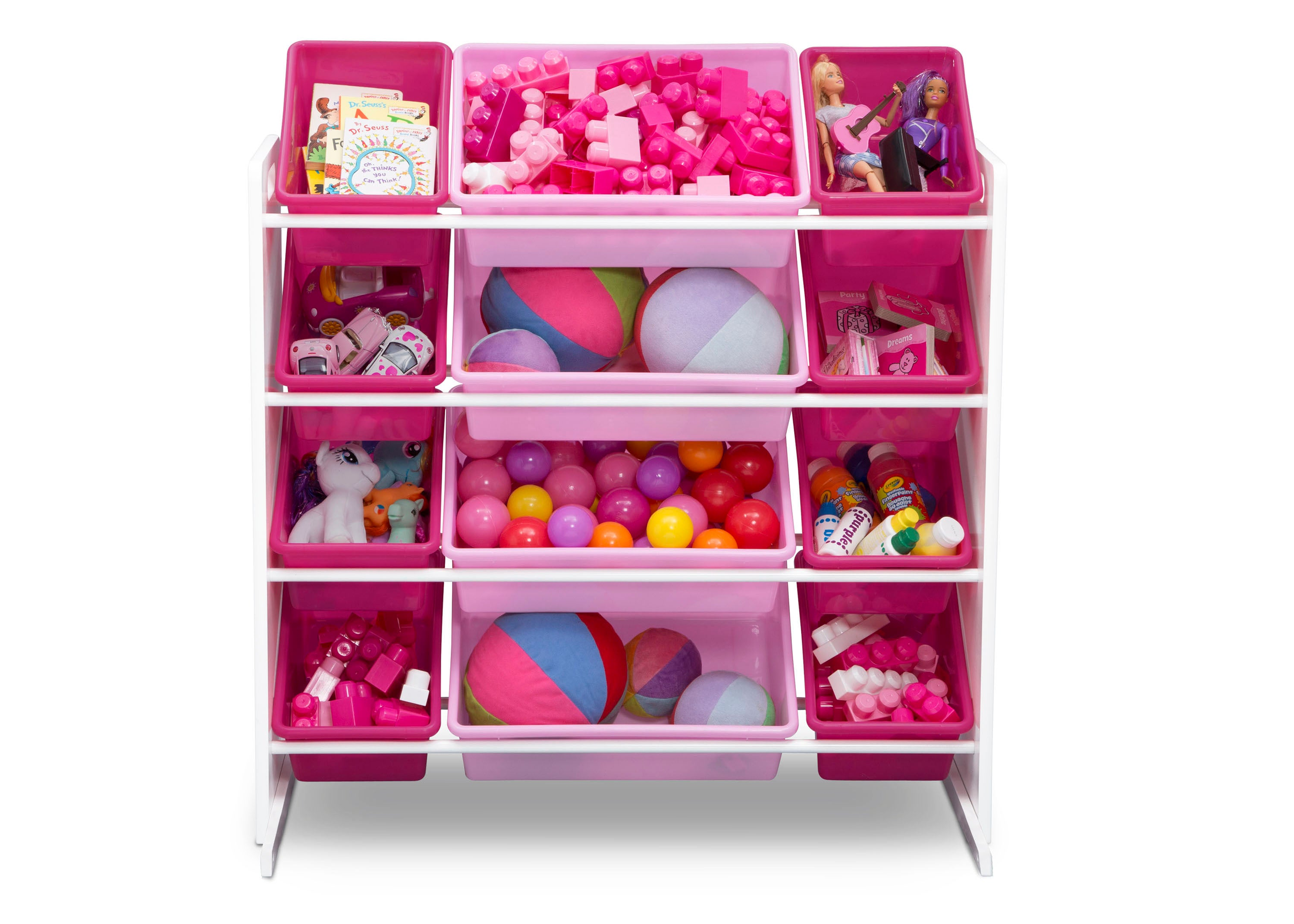 ... Delta Children White/Pink (130) Kids Toy Storage Organizer With 12  Plastic Bins ...