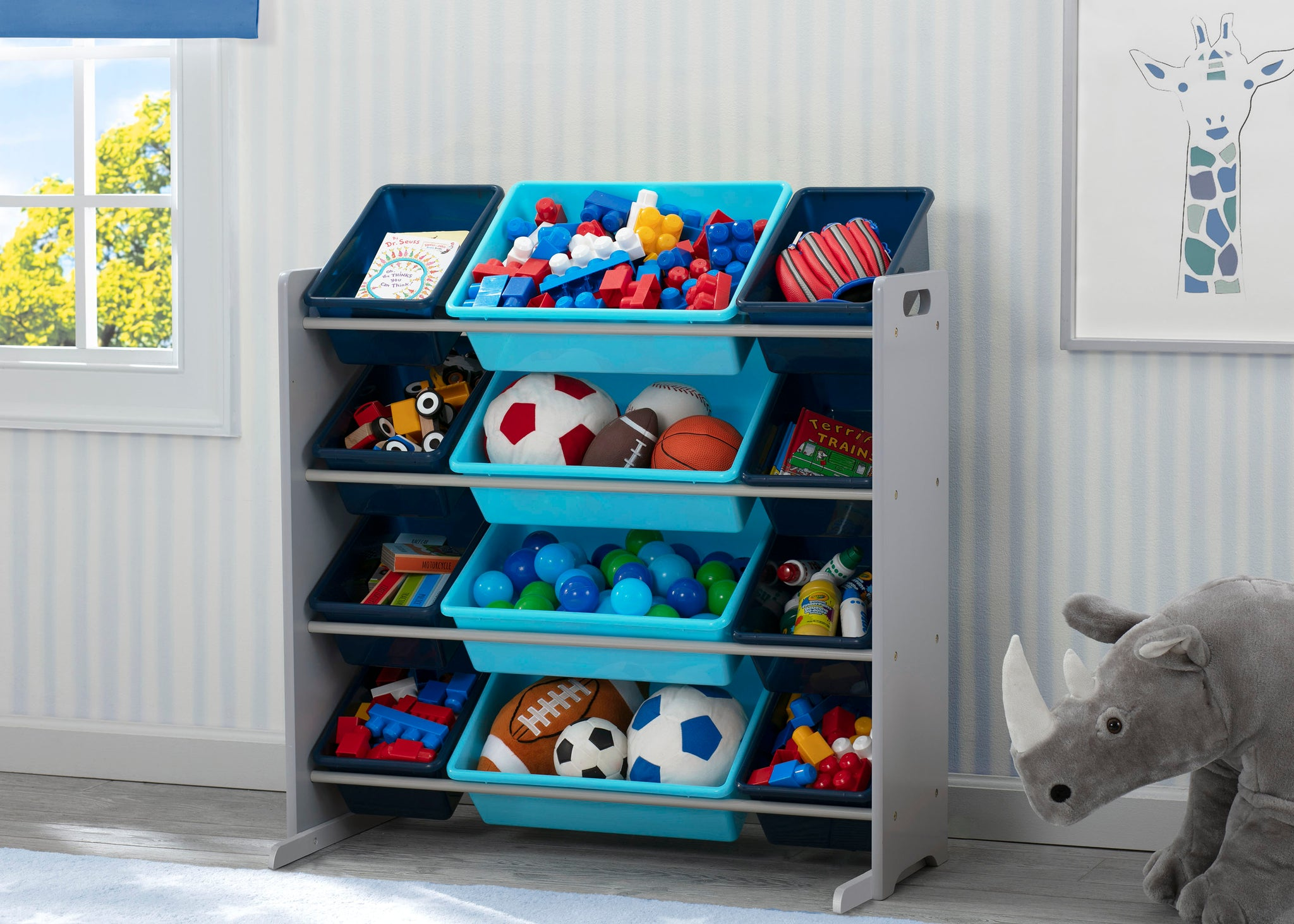Kids Toy Storage Organizer with 12 Plastic Bins