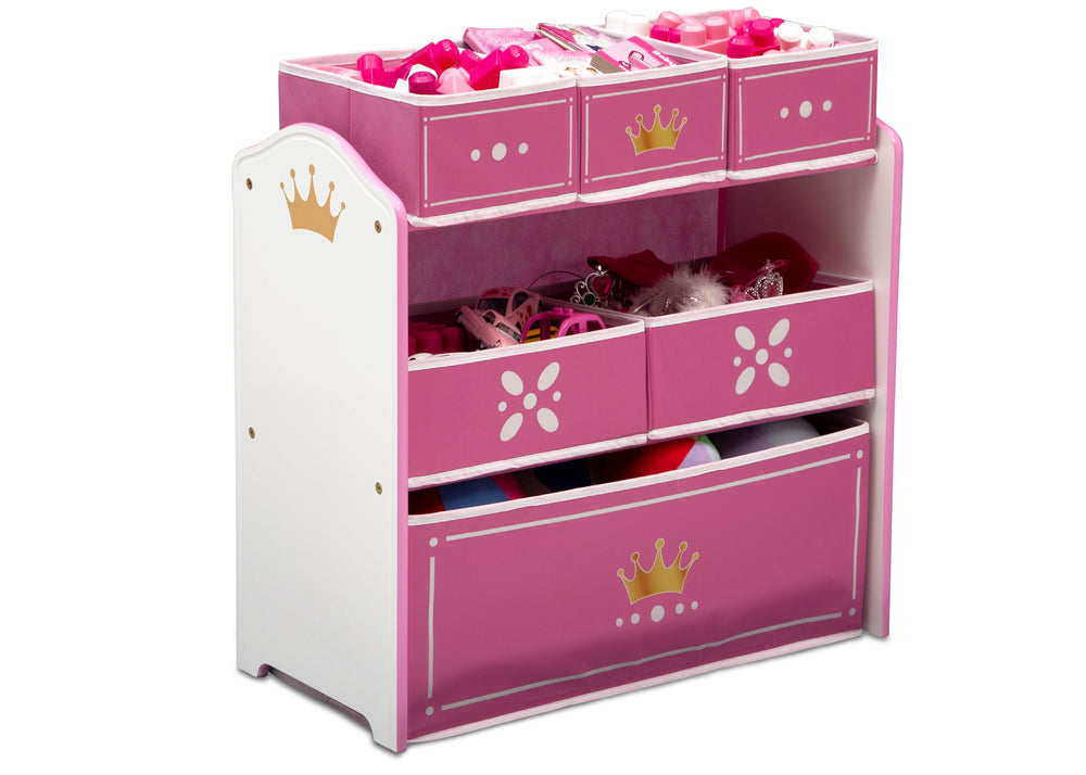 Delta Children Love Girl (1187) Princess Crown Multi-Bin Toy Organizer Right Silo View