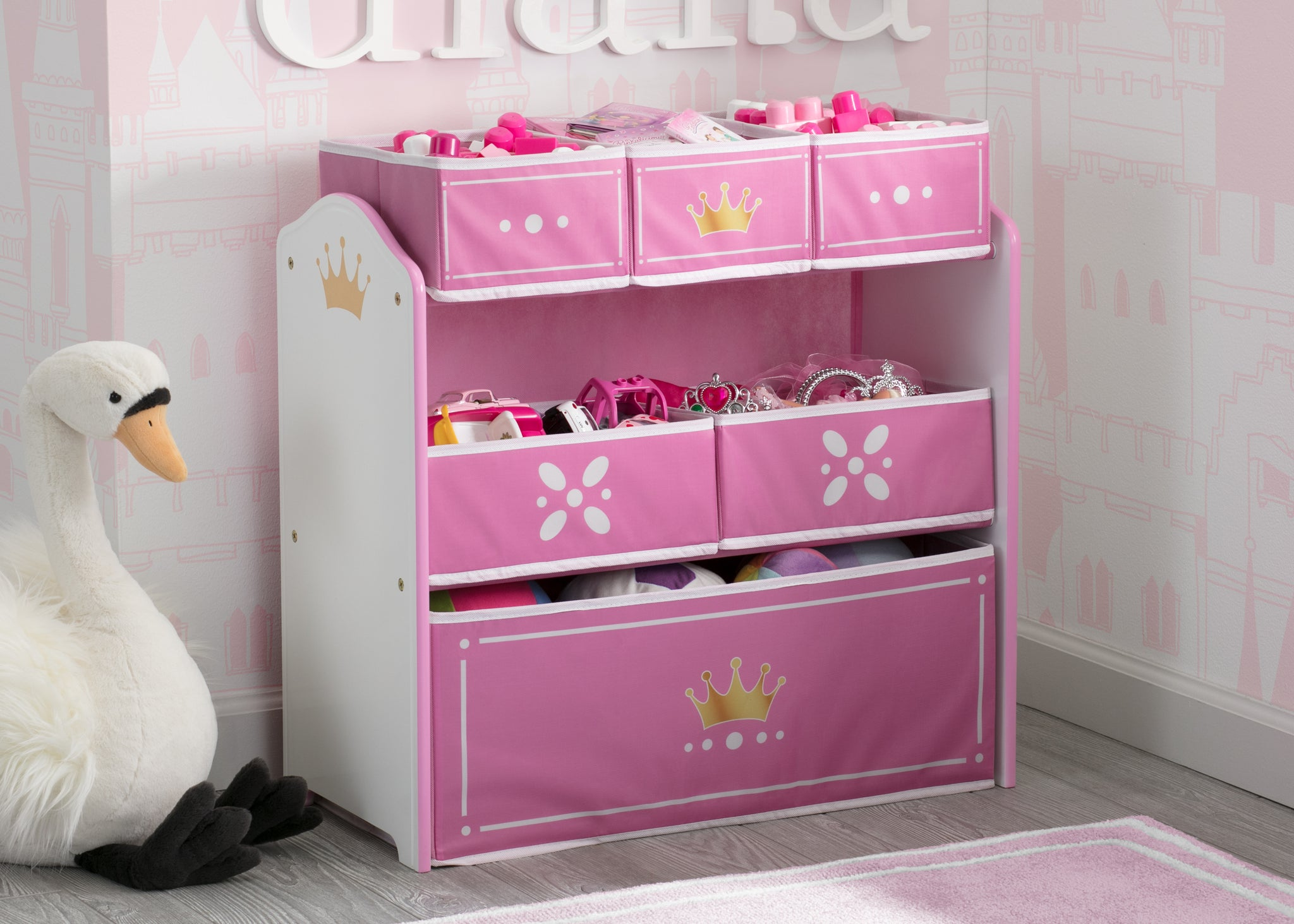Princess Crown Multi-Bin Toy Organizer, White/Pink