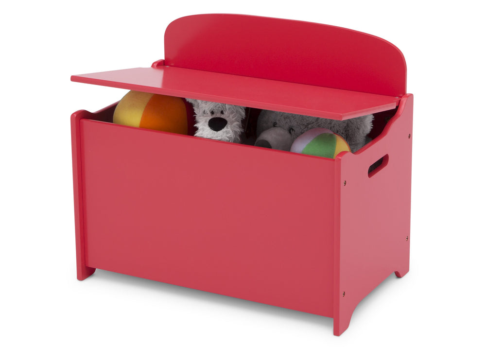 Delta Children Poppy Red (032C) MySize Deluxe Toy Box, Left Silo View with Lid Open
