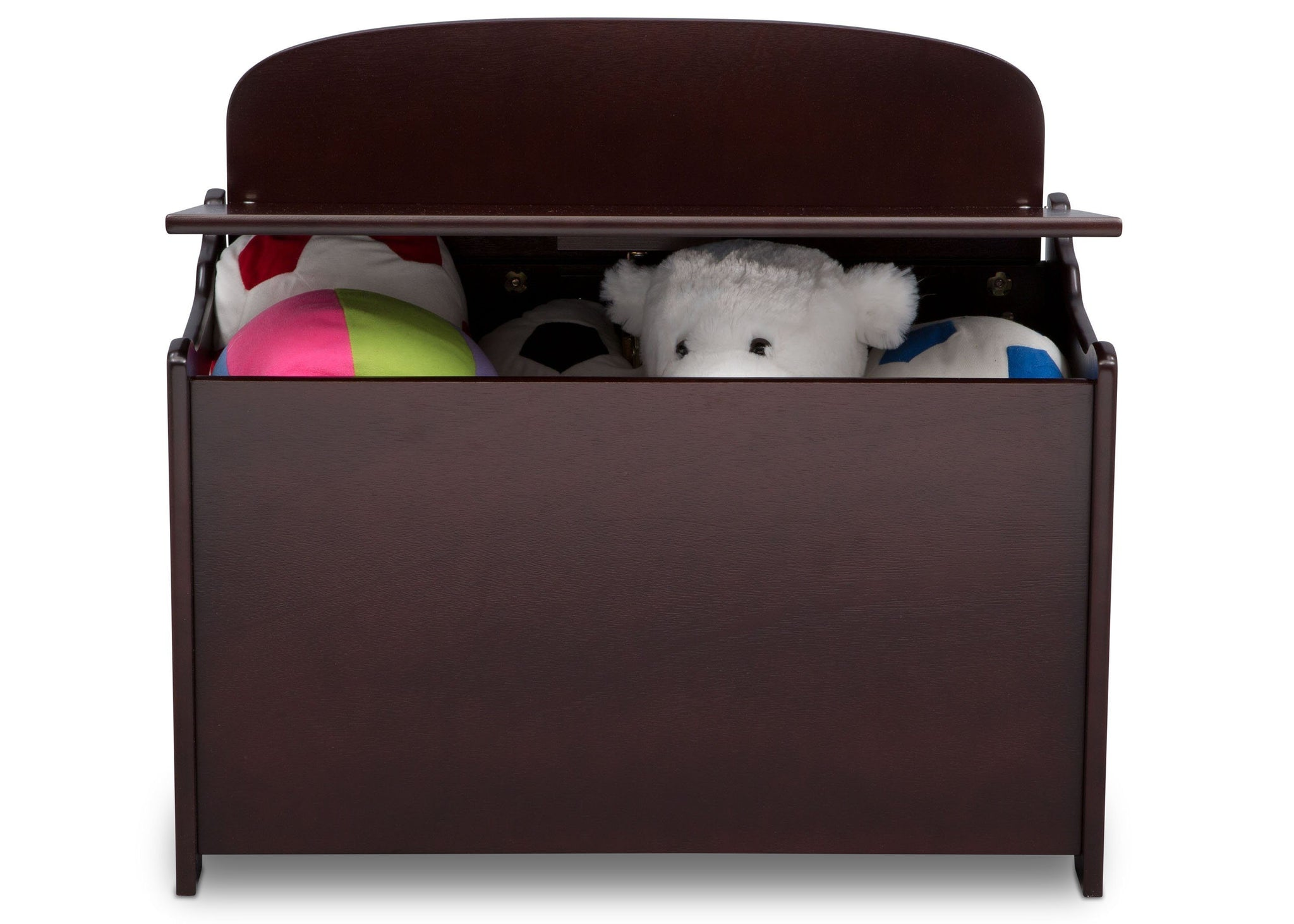 Delta Children Dark Chocolate (207) MySize Deluxe Toy Box, Front Detail, c2c