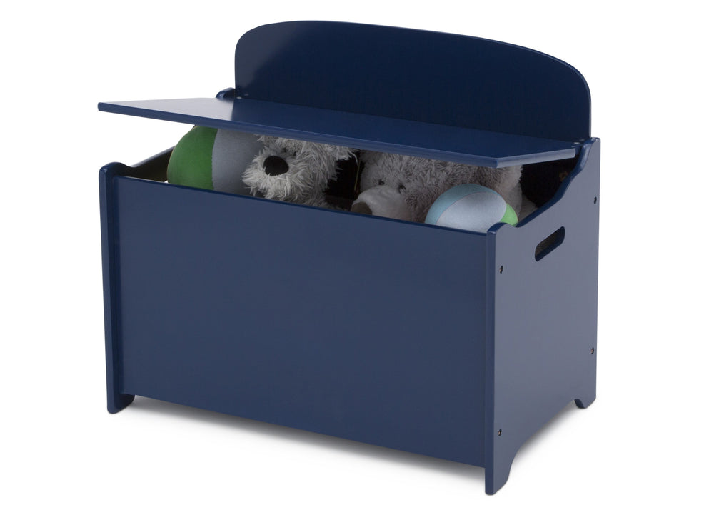 Delta Children Deep Blue (295C) MySize Deluxe Toy Box, Left Silo View with Lid Open