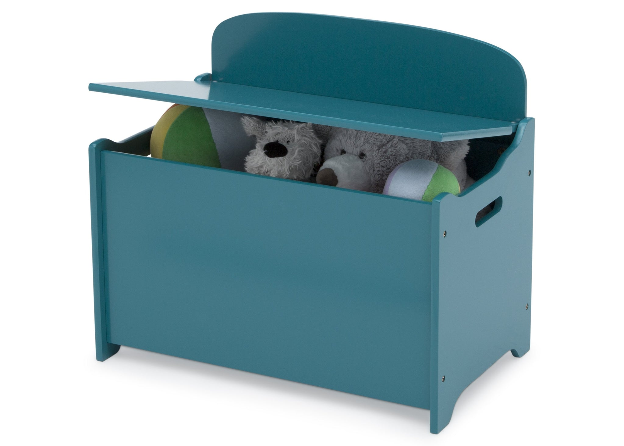 Delta Children Teal (7474C) MySize Deluxe Toy Box, Left Silo View with Lid Open