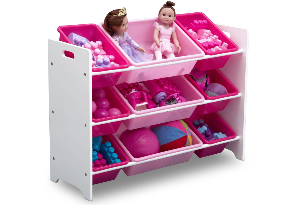 Delta Children Bianca (130) MySize 9 Bin Plastic Toy Organizer, Right Angle Detail, b2b