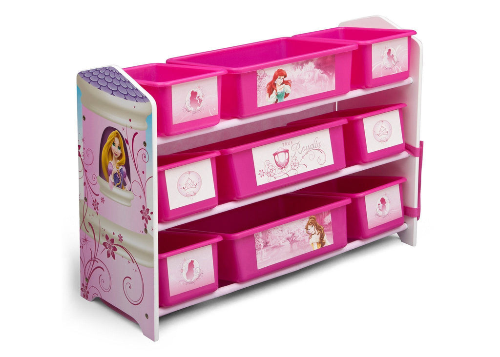 Delta Children Princess 9 Plastic Bin Toy Organizer, Right View a1a