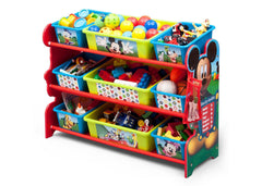 Delta Children Mickey Mouse Plastic 9 Bin Organizer, Left View with Props a2a