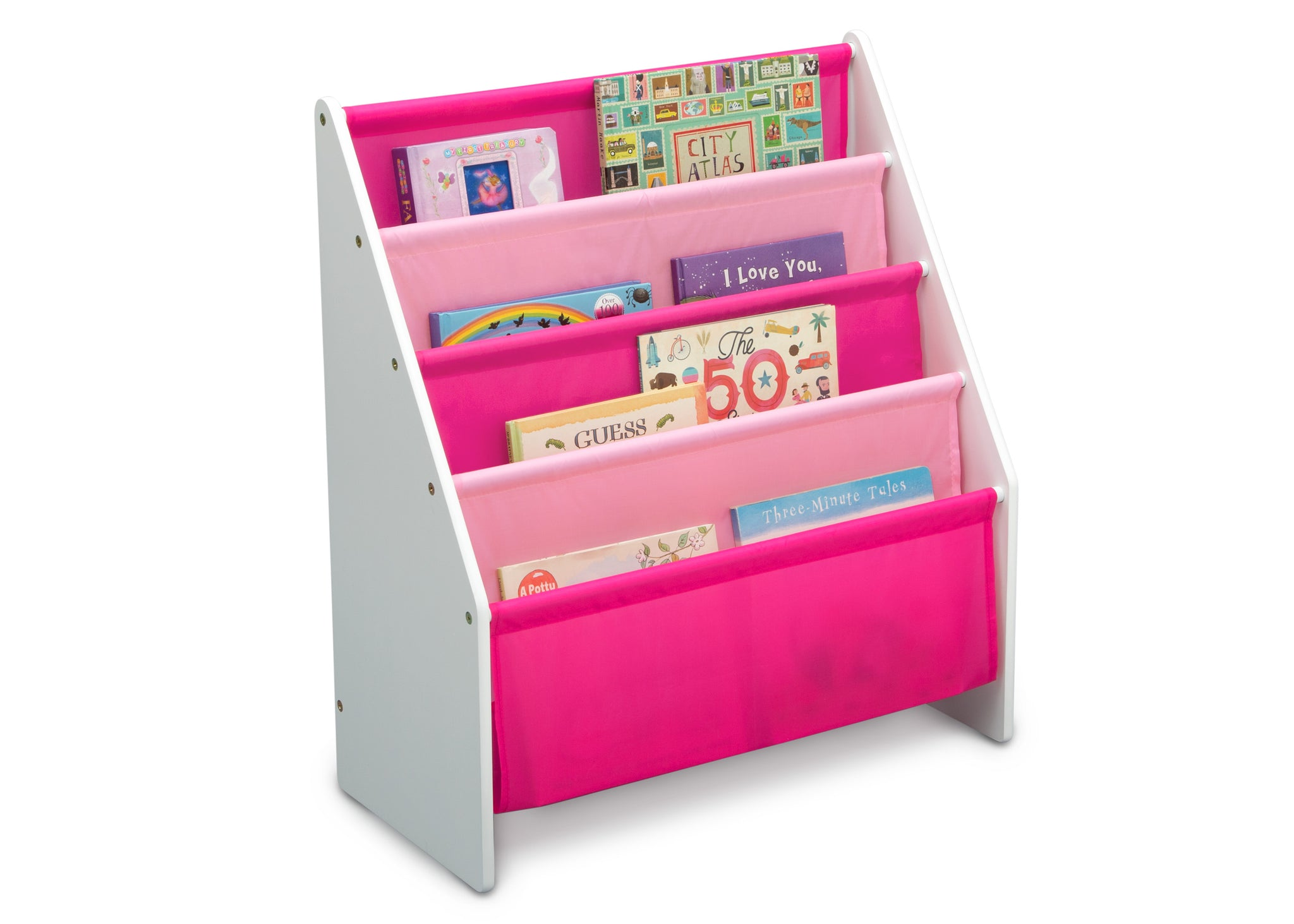 Delta Children White/Pink (130) Sling Book Rack Bookshelf for Kids, Right Silo View with Props Bianca White (130)