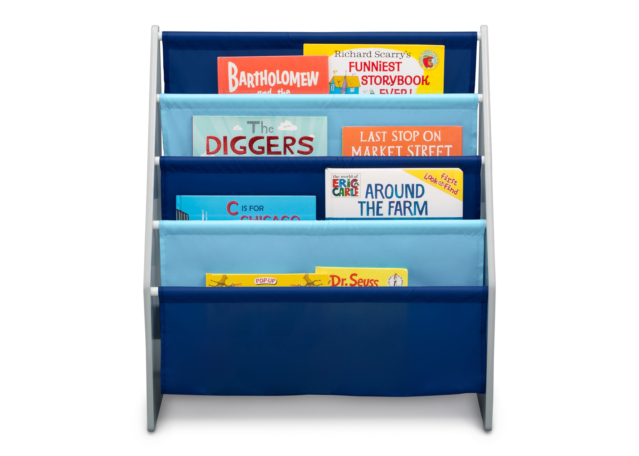Delta Children Grey/Blue (026) Sling Book Rack Bookshelf for Kids, Front Silo View with Props Grey (026)