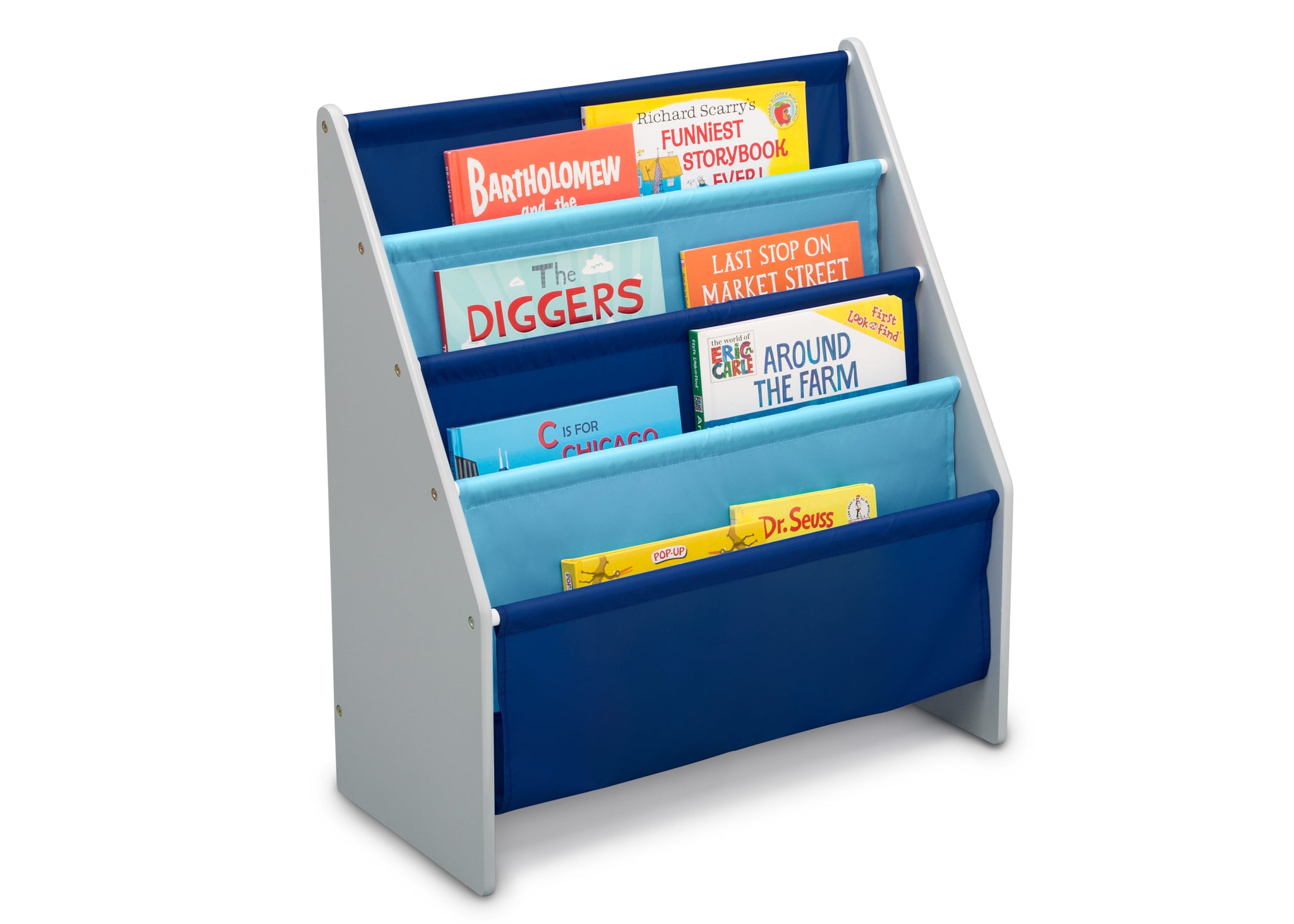 Delta Children Grey/Blue (026) Sling Book Rack Bookshelf for Kids, Right Silo View with Props Grey (026)