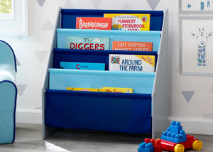 Delta Children Grey/Blue (026) Sling Book Rack Bookshelf for Kids, Hangtag View