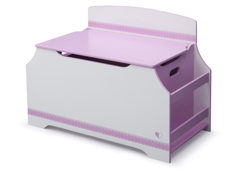 Pink and White Jack and Jill Deluxe Toy Box with Book Rack Style 1, Left View a3a